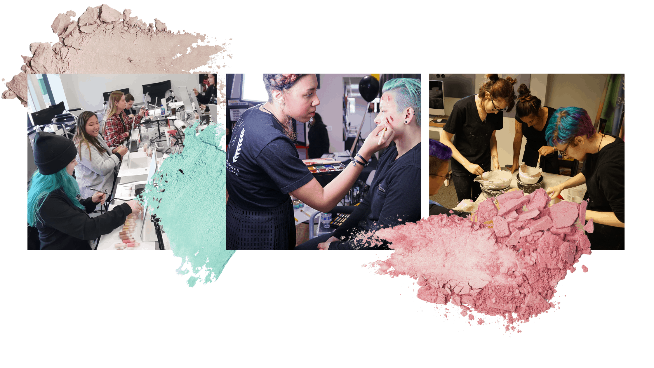 Students practicing during makeup classes at Multimedia Makeup Academy.