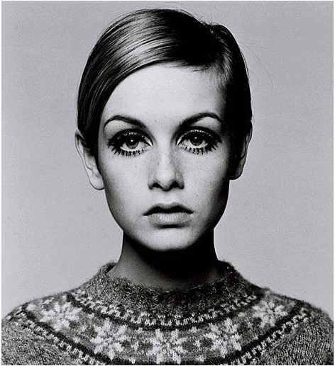 60's icon Twiggy with classic 60's makeup.