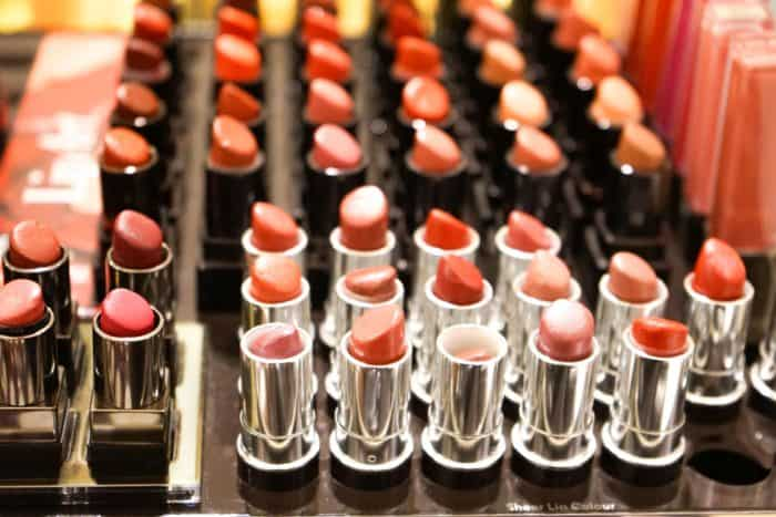 Variety of different lipstick colors.